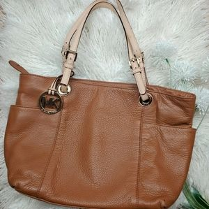 MICHAEL KORS Brown Tan Leather Bag Purse Tote Used
